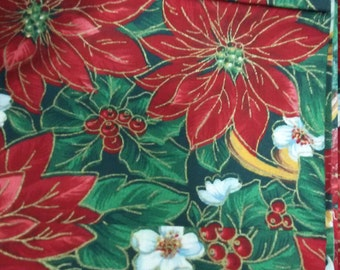 "Markdown Sale Quilt Craft Fabric Colorful Poinsettia & Floral Fabric yardage Good and Cheap 59"" by 42"""