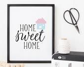 Cross Stitch Wall Art Kit, Stitchable Paper Art Print, DIY Kit, Modern Embroidery, Modern Cross Stitch, 8x10 Digital Print, Home Sweet Home