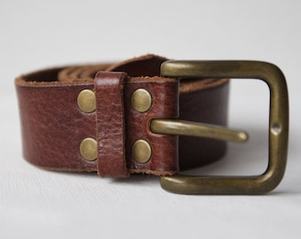 Vintage brown thick leather chunky buckle hip waist belt S-M