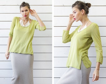 Vintage lime green white loose semi sheer layered long sleeve blouse top L