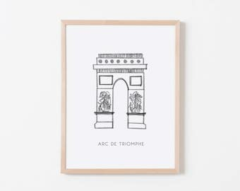 Arc de Triomphe Nursery Art. Nursery Wall Art. Nursery Prints. Nursery Decor. Paris Wall Art. French Nursery.