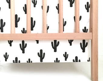 Crib Skirt Black Cactus. Baby Bedding. Crib Bedding. Crib Skirt Boy. Baby Boy Nursery. Cactus Crib Skirt. Black Crib Skirt.