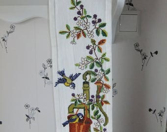 Vintage Swedish Hand embroidered tapestry in cross stitch - Sweet motifs of birds and water pump