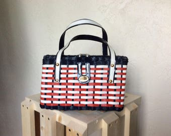 Summer Holidays 1950's 60's Red White & Blue Wicker Straw Purse