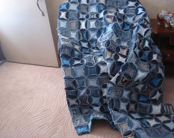 Upcycled throw made of denim blue jeans