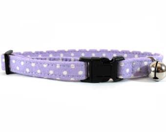 Cat Collar, Small Dog Collar Lilac Polka Dots