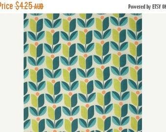 40% OFF SALE Joel Dewberry Fabric - 1 Fat Quarter FLORA, Tulip in Eucalyptus