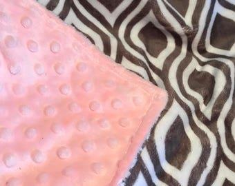 Free Personalization - Silver Oceano Minky Blanket - Blush Pink Minky on Back - Double Minky - Baby Size 29x35