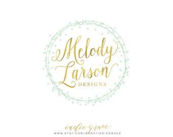 Custom Logo design PreDesigned / Mint Confetti Gold Foil Logo premade logo design photography Logo - Calligraphy Logo