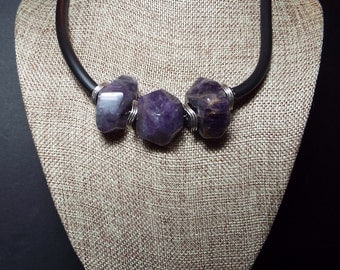 Amethyst Necklace, Large Chunky Necklace, Nugget Choker Necklace, Purple Necklace, Chunky Purple Necklace