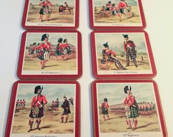 Vintage Pimpernel Highlanders Infantry Coaster | Table Drink Coasters | Highlander's Infantry Coasters | Coaster Set of 6 | FREE SHIPPING
