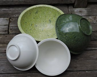 Vintage Texas Ware Set of Bowls Confetti Green Melamine Melmac Speckled 125/118/111(2), Mixing~Serving Bowl, Plastics Manufacturing Co, USA