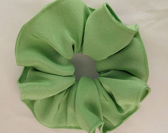 Silk hair scrunchie tie made with vintage kimono silk - Spring green color