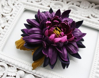 Violet/Magenta/Olive Leather Chrysanthemum Flower Brooch/ Hairclip