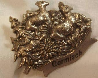 Brooch Pin Vintage German Sterling? Garmisch Germany Two Deer in the Forest Hand Worked Metal Collectible Detailed Unusual