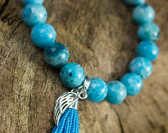 Hemimorphite Bracelet with Sterling Silver Charm - Angel Wing and Tassel