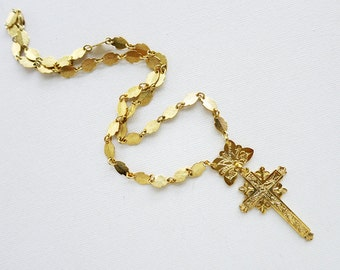 Vintage Krus Cross Crucifix Necklace in Brass in Gold-Plated Finish from the Philippines
