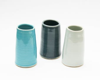 Set of 3 Vases  - Dark Blue, Turquoise and Pale Blue