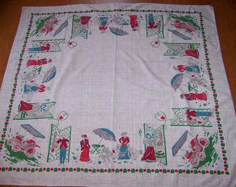 Vintage Figural Print Tablecloth Croquet Old Bicycle Old Phone Antique Car