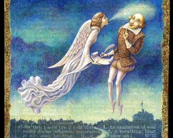 Writer Inspiration art print, Afflatus:  An angelic muse breathes inspiration to Shakespeare. Gift for writer, Letter A, fantasy art angel