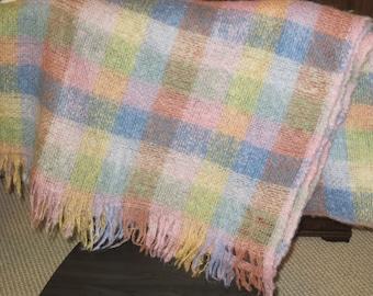 Mohair Vintage Throw Blanket - Pastel Plaid