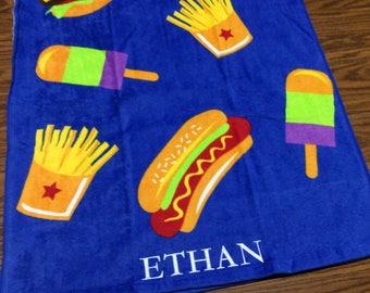 food beach towel monogrammed beach towel pool party favor kids beach towel birthday gift - Monogrammed Beach Towels
