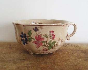 Antique BIG cup, 1900,Vintage, Bowl, Flowers, Chocolate cup, Tasse, Café au lait, Antique, Rustic kitchen, Farmhouse