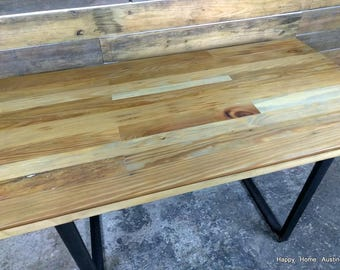 Reclaimed Salvaged Wood Dining Table or Desk with Light Stain