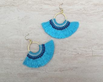 Tassel Hoop Earrings Blue  Festival Tassel Earrings Tassle Earings BOHO Chic Earrings Gypsy Tassle Jewelry Trending Now Wholesale Jewelry