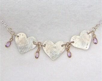 Triple Heart Silver and Amethyst Gemstone Neckpiece
