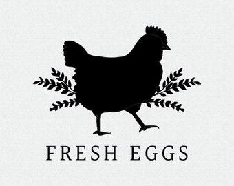 Fresh Eggs Stamp, Fresh Eggs Daily Stamp, Fresh Egg Stamp, Chicken Stamp, Egg Carton Labels, Stamp for Eggs, Chicken Coop Stamp (T389)