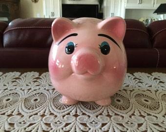 Vintage Piggy Bank, Ceramic, Pink Piggy Bank, Ceramic Pigs, Home Decor, Child's Piggy Bank, Collectibles, Pigs, Collectible Piggy Banks