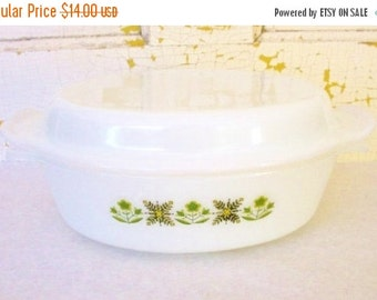 ON SALE Vintage 1940s Fire King Anchor Hocking Meadow Green Covered Casserole dish Green Flowers Milk Glass