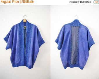 Bringing Home Baby SALE: Vintage 80s Cobolt Bright Blue Suede Wool Mohair SILK Leather Patch Jacket Kimono Coat Oversized Batwinged Sweater