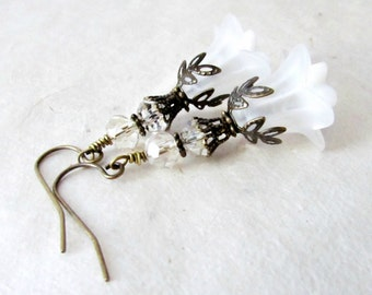 White Flower Earrings. Romantic Earrings for Ethereal Brides. Frosted White Lily Earrings w Vintage Flower Components + Champagne Crystals