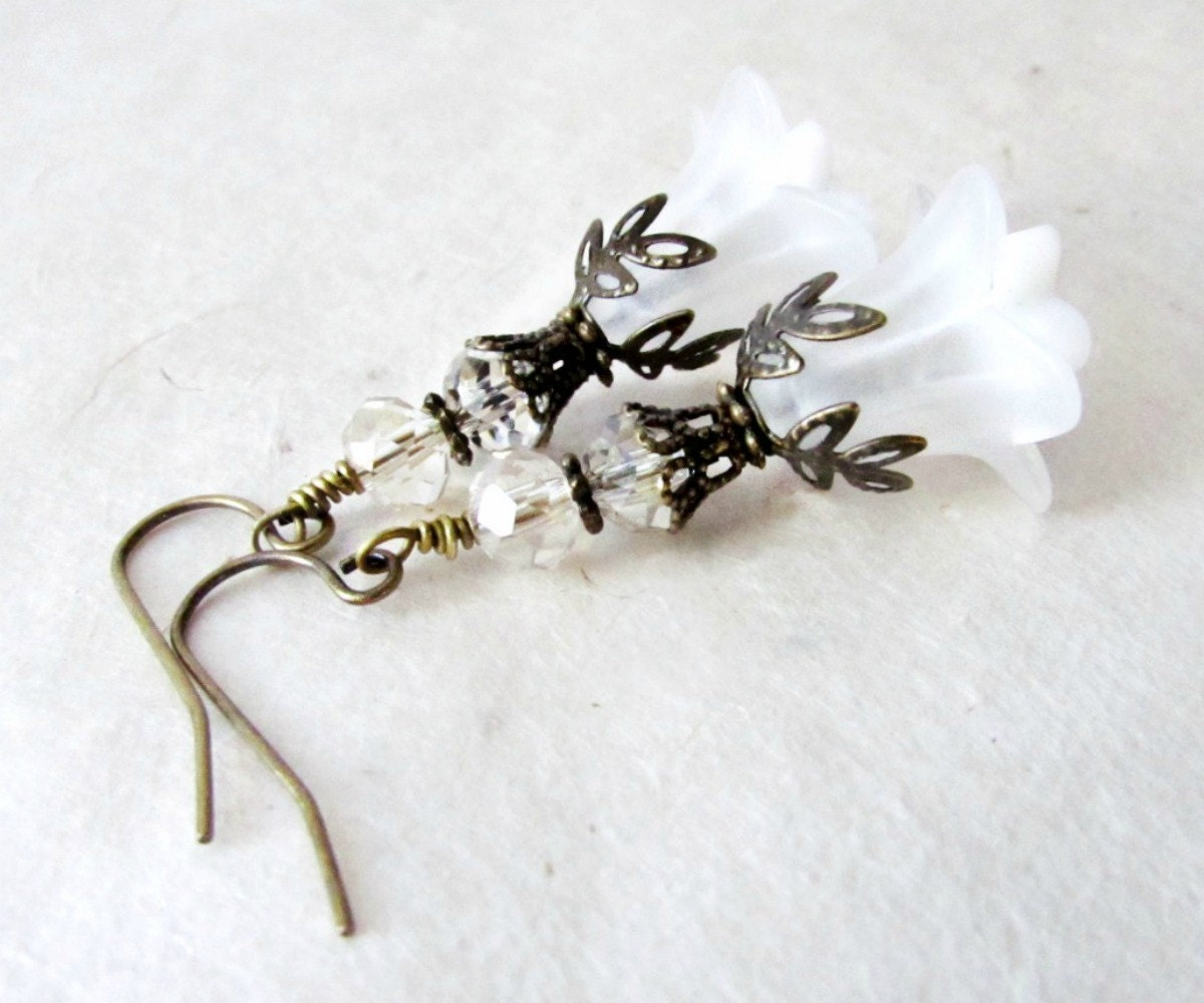 White Flower Earrings Romantic Earrings For Ethereal Brides