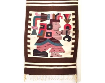 Vintage Peruvian Wool Wall Textile with Fringe