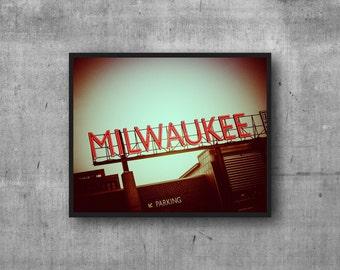 Milwaukee Art Photography Print - neon sign photo