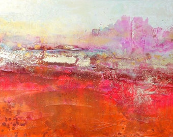 ART Landscape Original Art by Caroline Ashwood - Textured and contemporary abstract painting on canvas - Free Shipping