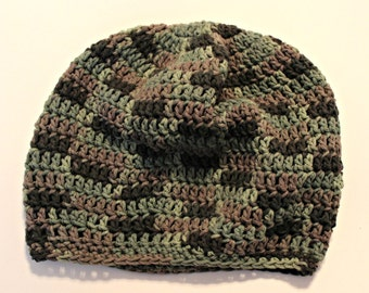 Men's slouchy beanie - mens camo slouch hat READY TO SHIP cotton camoflauge hat -  hunters hat