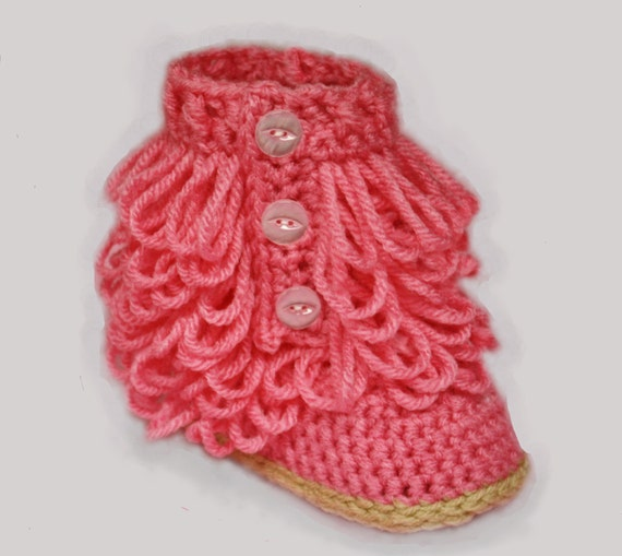Pink Furry-licious Girly Boots - Handmade Crochet Baby Girl Boots