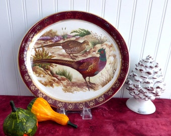 Pheasants Oval Platter 1950s Wood and Sons Game Birds Burgundy Border Gold Overlay Holiday Dinner