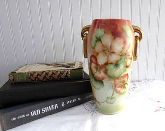 Gorgeous Edwardian Artisan Vase Art Pottery Geraniums Artist Signed Late Victorian Nasturtiums