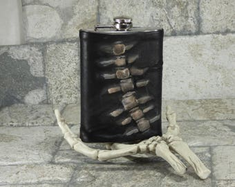 Spine Flask Brown Black Leather 8 Ounce Skeleton Goth Horror Groomsman Gift One Of A Kind