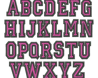 2 Color College Embroidery Font  - Instant Download