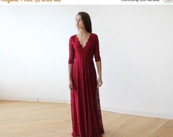 Oscar Sale Bordeaux long sleeves lace gown, Lace Bordeaux gown 1124