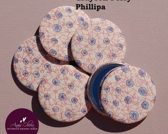 Fabric Covered Pocket Mirror Liberty Grayson Perry Phillipa