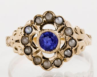 Antique Ring - Antique Victorian 14k Yellow Gold Sapphire & Seed Pearl Ring