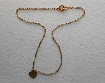 14K Yellow Gold Anklet Bracelet with heart Charm