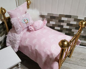 "Doll bedding set,Pink blossoms Comforter with Reversible  Pink Minky,4 Decorative pillows Fits American girl dolls or any 18-20""dolls # 100"